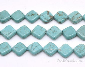 Turquoise beads, 12x12mm dia-square, gemstone beads, loose stone beads wholesale, full beads strand, making necklace, TQS3240