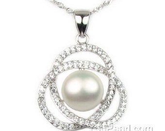 White pearl pendant, shinning crystal pearl pendant, freshwater pearl pendant, 925 sterling silver chain pearl necklace, 10-11mm, F2910-WP