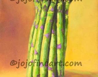 asparagus vegetable painting by Joanne Witalec jojofineart.com