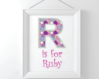 Alphabet Wall Art, Print, Personalized, Frame