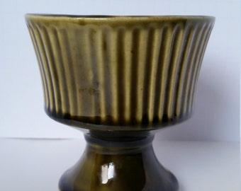 Glossy Olive McCoy Floraline Vase/Candy Dish