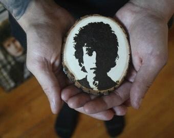 Bob Dylan wood-burned wall hanging