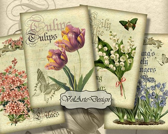 Spring flowers - digital collage sheet - printable download - gift tags - set of 8