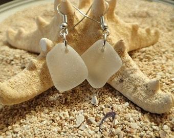White  Sea glass earrings. Real hawaii sea glass. Authentic beach glass. Made in hawaii