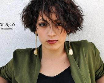 Boho chic earrings. Pendant earrings. Raw crystal rock earrings.  Fashion. Made in Italy. Gift ideas