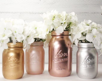 4- Hand Painted Mason Jars Flower Vases- Metallic Gilded Collection -Country Decor-Cottage Chic-Shabby Chic-French Chic