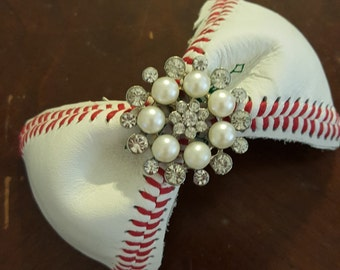 Real Baseball hair bows