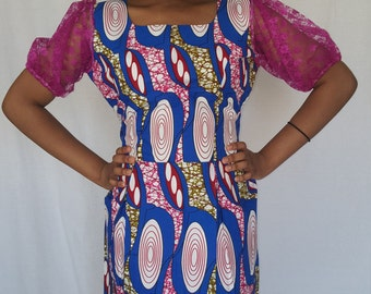 Trenzycreations African Print blue pink dress with lace puff sleeve