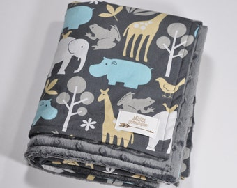 Minky baby blanket - Personalized Baby Elephant Blanket - Zoo Baby Blanket - Baby Giraffe Animal Blanket - Gray Blanket - Baby Shower Gift