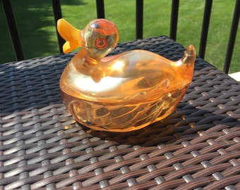 Vintage Iridescent Marigold Carnival Glass Painted Duck Dish