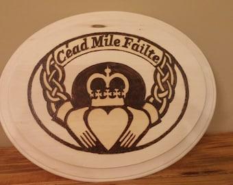 Celtic Claddagh wood sign