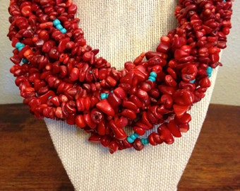 Red & Turquoise Multi-Strand Statement Necklace