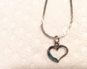Small Turquoise-Inlay Necklace with Silver Chain