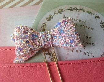 Planner clip, paper clip, planner clip, glitter bow clip, glitter bow paperclip