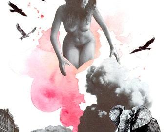 Art print, Illustration, Watercolour, Ink, Collage, Original Art, Print, Gift, Home, Art wall. 20x25cm Woman Nature #2