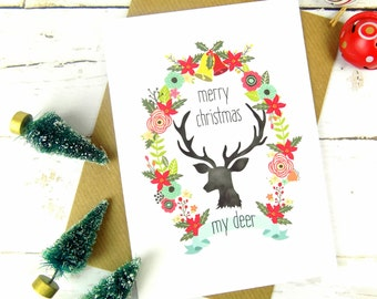 Merry Christmas My Deer Boho Floral Christmas Card
