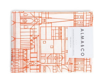 Tea Towel - Melbourne Cityscape Fluoro Orange on White Linen - Screen Printed Linen, Hand Printed, Hand Made in Melbourne