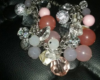 Pink and silver flashy beaded charm bracelet