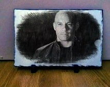 Vin Diesel Sketch Art on Slate