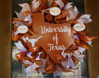 Texas Longhorn Wreath, Longhorn Wreath, University of Texas Door Sign, University of Texas Wreath, Texas Longhorn Door Hanger, UT wreath