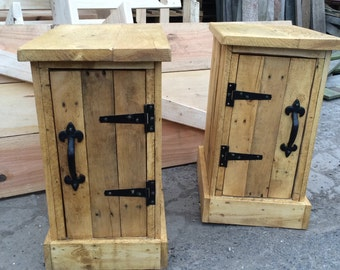 Pair of small bedside tables / nightstands made with recycled pallet wood