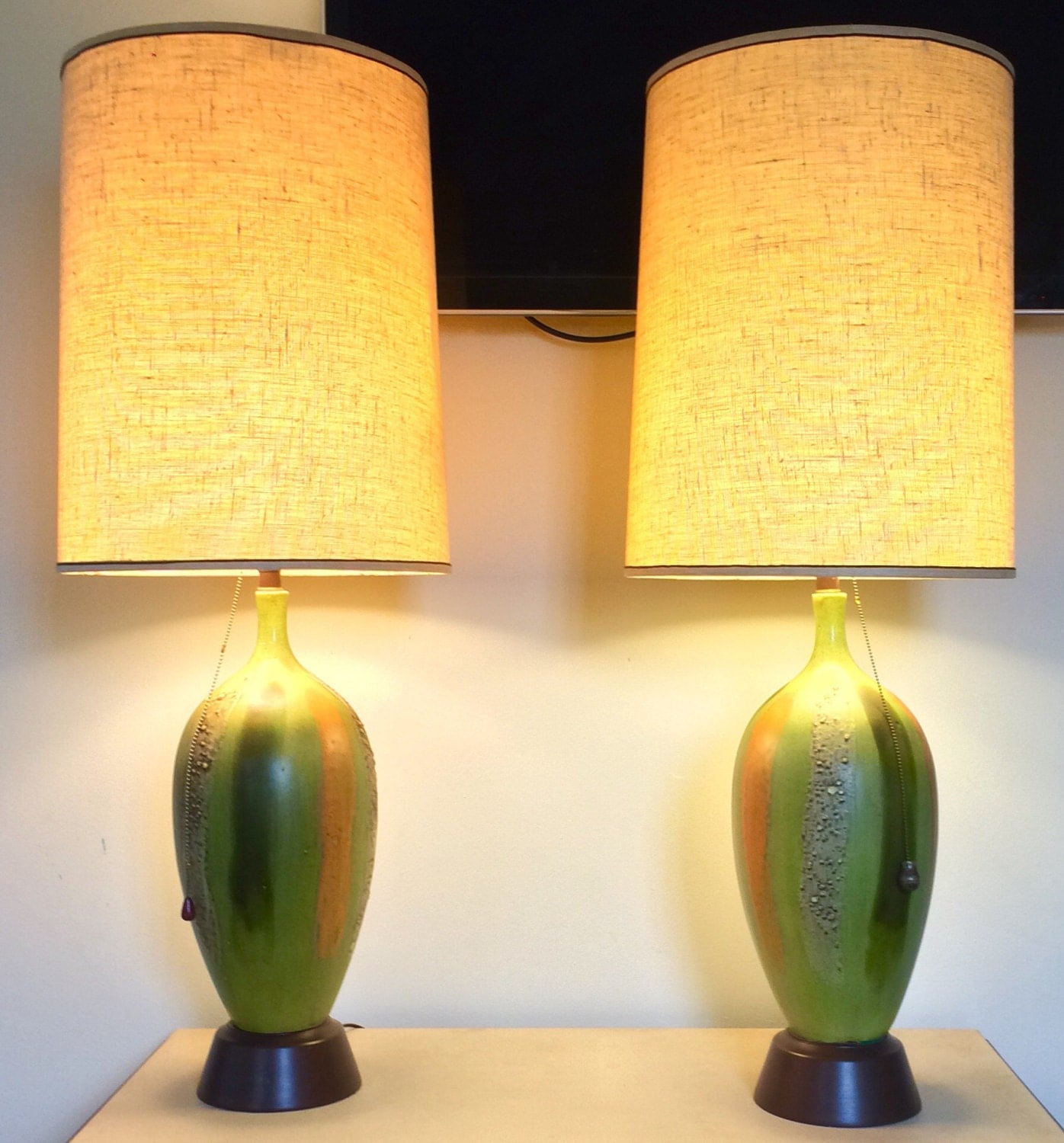 danish mid century modern table lamps drip glazed retro s era  - danish mid century modern table lamps drip glazed retro s era in olivegreen orange and yellow located in chicago hip modern fun