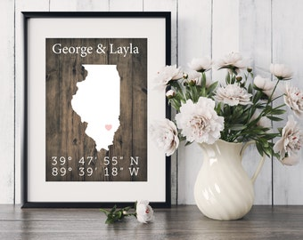 Illinois State Art, personalized, custom, coordinate, house warming, newly weds, tourist, travel, traveler, gift, home decor, print, poster