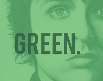 Billie Joe Armstong from Green Day charcoal portrait and graohic design poster print wall decor