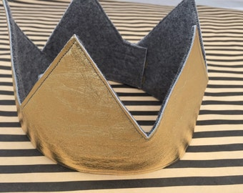Gold Leather and Wool Felt Reversible Crown