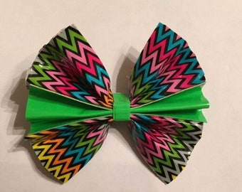 Chevron and Green Duct Tape Hair Bow
