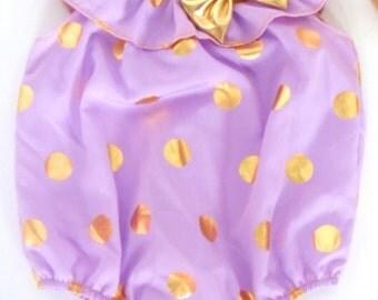 Purple gold polka dots