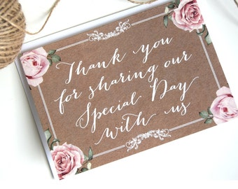 Vintage Kraft and Chalkboard Wedding Thank You Cards