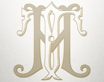 Wedding Initials Logo - HT TH - Wedding Initials - Vintage