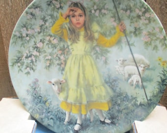 1983 Little Bo Peep Plate by Reco.  Mother Goose Series by John Mclelland  Plate No. K16327