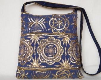 Golden flower, blue medium  bag, bohemian bag, indian bag, festival vintage bag, crossbody bag, embroidered bag, hobo bag, indian sari bag