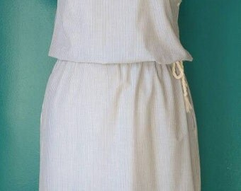 Striped blue and white vintage dress size 38