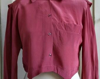 Vintage burgundy crop blouse