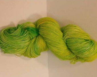 Hand dyed skein of yarn.