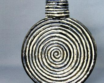 Round Stoneware Bottle/ Vase with Tie Dye-like Design- White, Blue, Black No.2
