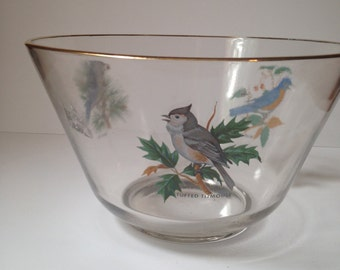 Vintage 1950s West Virginia Glass Blue Birds Punch/Snack/Salad Bowl Gold Rim Great Condition
