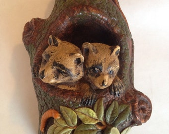 Bear Cubs in Tree Wall Hanging - 1970s