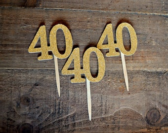 40th Birthday Cupcake Toppers. 40 Cupcake Toppers. 40. 40 Gold. 40 Silver.