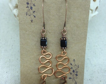 Copper and Black Swarovski Crystal Earrings