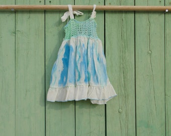 Turquoise cotton crochet and hand-painted dress for baby girl 9 months