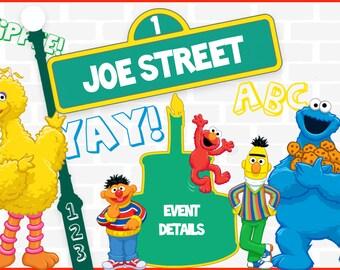 Sesame Street Birthday Invitation Boy or Girl