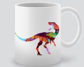 Raptor Mug -  Tea Mug -  Coffee Cup - Dinosaur Ceramic Mug -  Colorful Illustration - Gift Idea