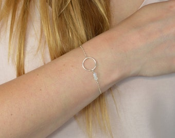 Bracelet Moonstone * and round Silver 925