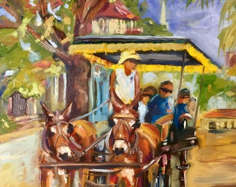Original oil painting of Carriage Ride in historic Charleston South Carolina