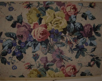 Beautiful Antique 19th C. French Gouache on Paper Floral Painting (9222)