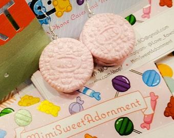 Sweet Pink Cream Cookie Earrings